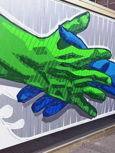 The Hand Reaching- finished duct tape artwork- Close-up 02