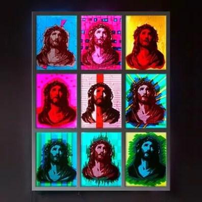 OMG- Jesus Tape art- Packband auf Leuchtkastenkunst