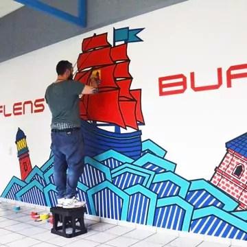 Ein maritimes Wand-Graffiti Motiv aus GAFFA-Klebeband