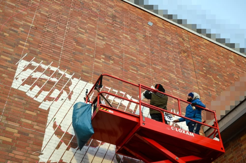 Work in progress- Selfmadecrew paints the portrait mural in juvenile prison