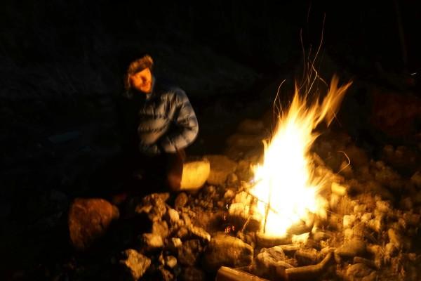 Riverside campfire near Pontebba