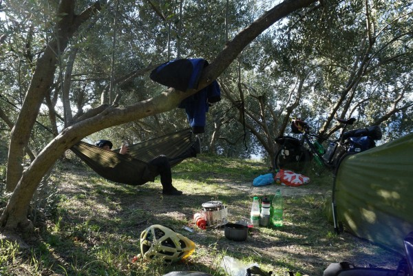 Taneli road tests my hammock for me, near Orebice, Croatia