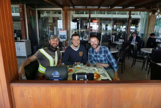 With Volkan and Erim (of Ordu Bisiklet Safari) at Erim's place, Cafe Bulvar in Ordu