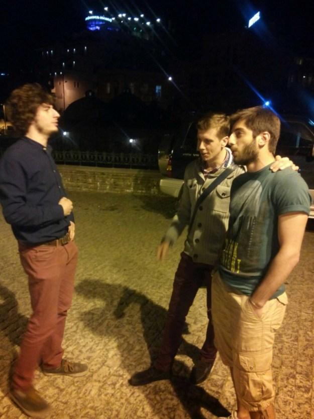 Saba and his mates strike up a three part harmony.