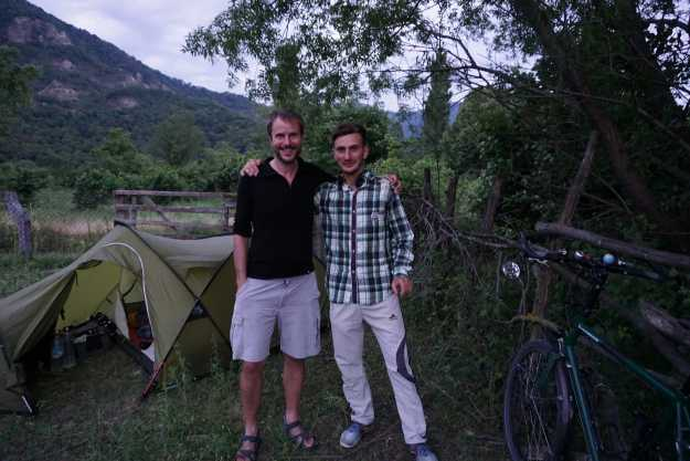With Emin at my campsite,  at the bottom of his garden as it turned out.