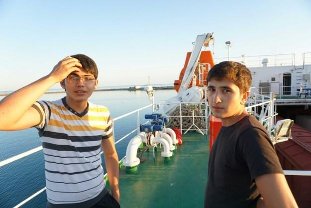 Waiting to disembark with two Azerbaijani apprentice crew of Balakan.