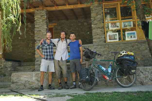 With Silk Road cyclist Corentin and Michele at Pamir Lodge, Khorog