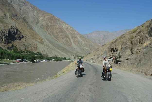 Riding out of Kalai Khumb along the river Penj with Timo. Photo credit: I.Mathews