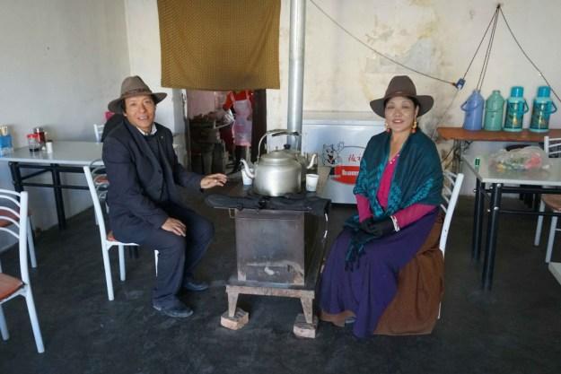 Friendly Tibetan couple in a cafe en route to Yushu