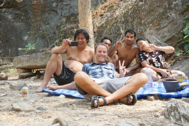 With a group of friendly Thais who insisted on sharing their boozy picnic with me. Immediately before the first two 700m hills I'd seen in months. At Lan Sang waterfall between Tak and Mae Sot