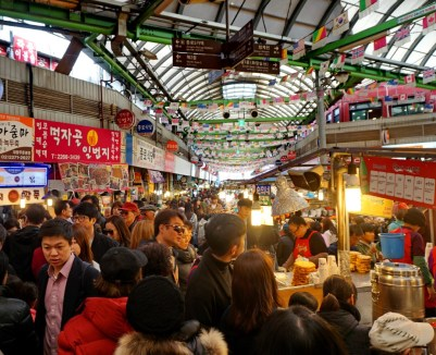 Gwangjang Market, Seoul, on a busy Saturday afternoon.