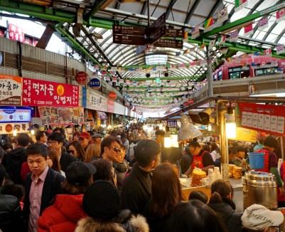 Gwangjang Market, Seoul, on a busy Saturday afternoon.