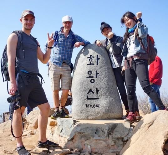 With Lucas, Sunhye and Sunny on Hwawangsan, South Gyeongsang Province