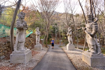 Fellow Masan ESL teacher Lucas joined me for a few runs on Muhaksan. Here at the gateway to one of the temples at the foot of the mountain.