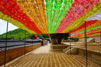 Beomeosa Temple, Busan, looking colourful for Buddha's birthday celebrations.