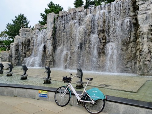 City bikes ('Nubija' bikes) are available throughout Changwon and Masan. For $30 for the year you can grab one from docking stations all over the city and return to another. Super handy and saves a nauseating bus ride.