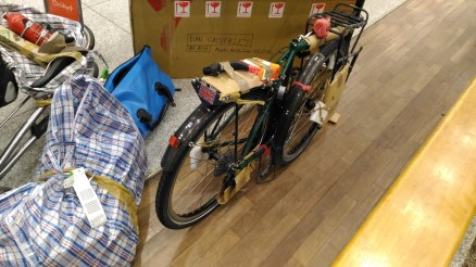 Unboxing the bike at the airport - all intact, yay :)