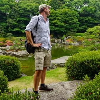 Working it in a Zen garden in Fukuoka
