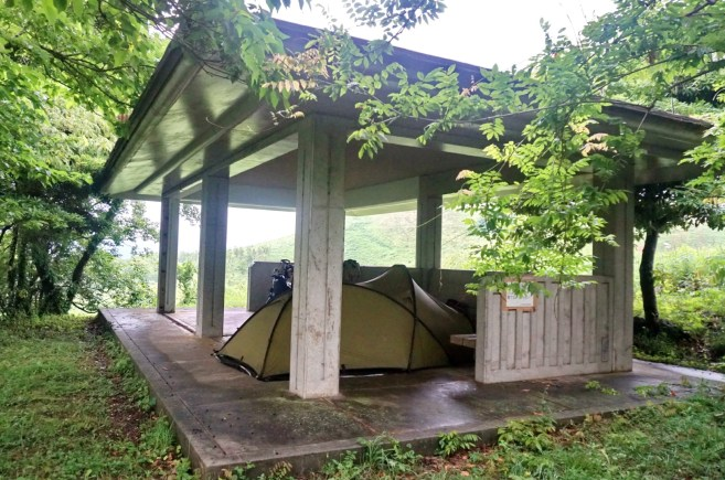 Second night's camping, another great shelter on the limestone plateau near Akiyoshido cave