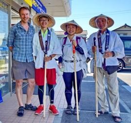 With pilgrims of the Shikoku Henro, a 1200km pilgrimage of the 88 Buddhist shrines on Shikoku island. These guys were from Taiwan.
