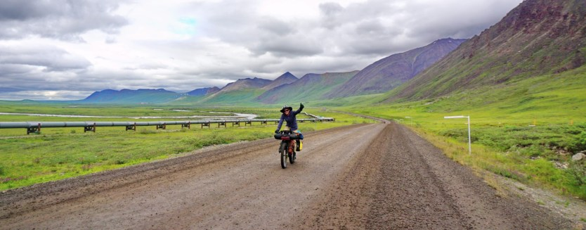 Adam going strong on the first climb of the Dalton Highway.