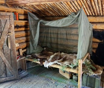 Inside a trapper's cabin at the replica Athabascan village.