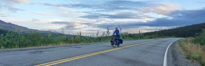 Riding late on the Taylor Highway towards Chicken