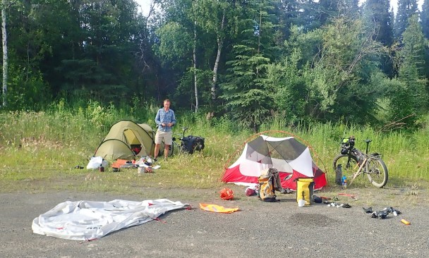 Camping at Colorado Creek trailhead, a day's ride from Fairbanks. Photo: A.Hughes