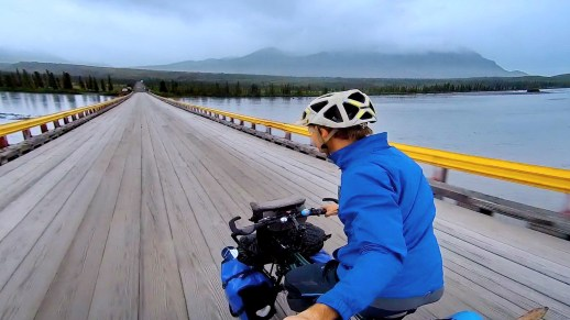Crossing the Susitna River on the Denali Highway