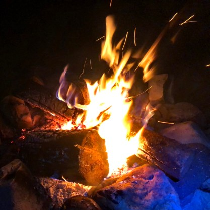 Campfire at Pollock Bridge rec site, Flathead Valley. Photo: S.Coackley