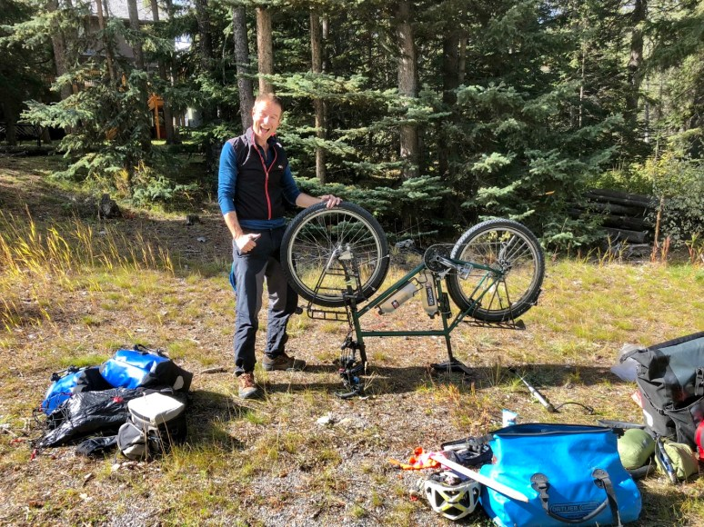 Second puncture less than a mile from the hostel in Banff. Photo: S.Coackley