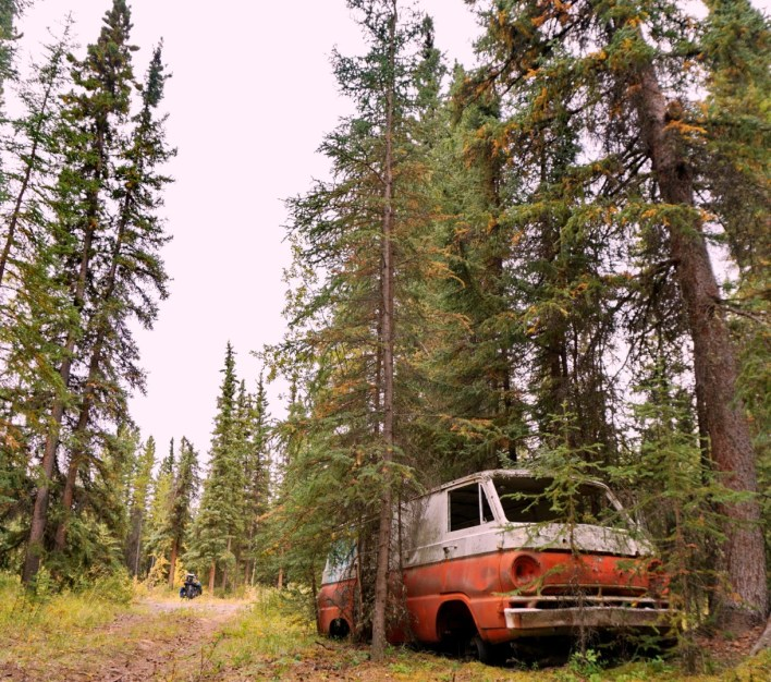 Not so-magic bus at my lunchtime picnic, first day on the Cassiar Highway, BC