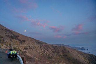 Riding into dusk, north of Bodega Bay, Hwy 1, California