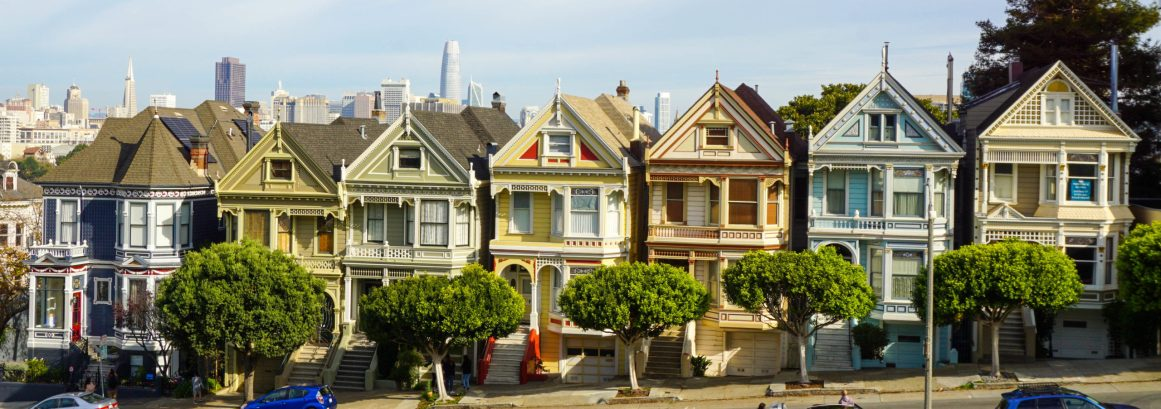 The 'Painted Ladies', Victorian houses near Alamo Square park, San Francisco
