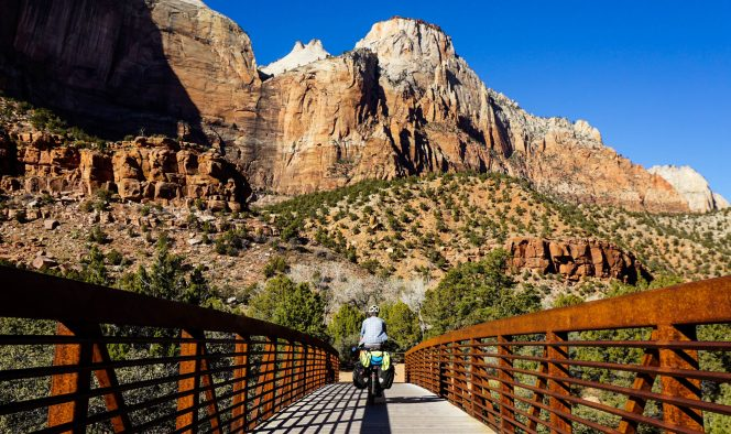 On the Parus Trail, Zion, Streaked Wall in view