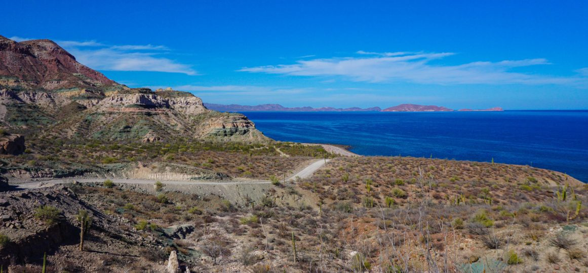 Boom! Sea of Cortez, a view to repay the effort of this rough road. Above San Evaristo, Baja Sur