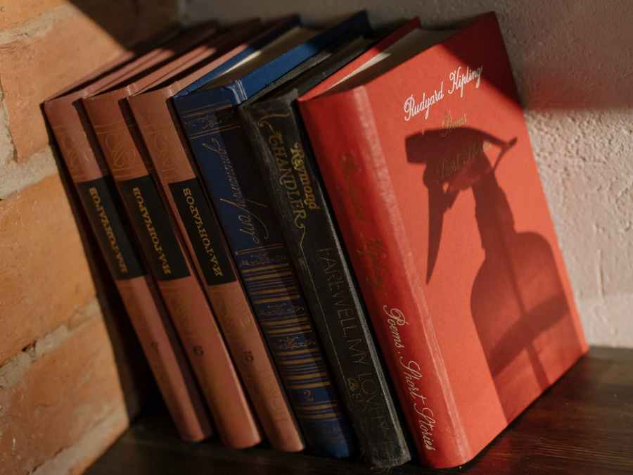 red and black book on brown wooden table