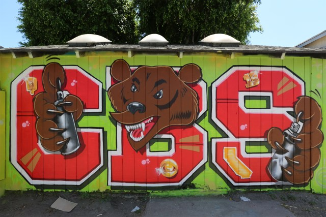 self selfuno cbs crew letters lettermen bear character melrose alley graffiti los angeles june 2013