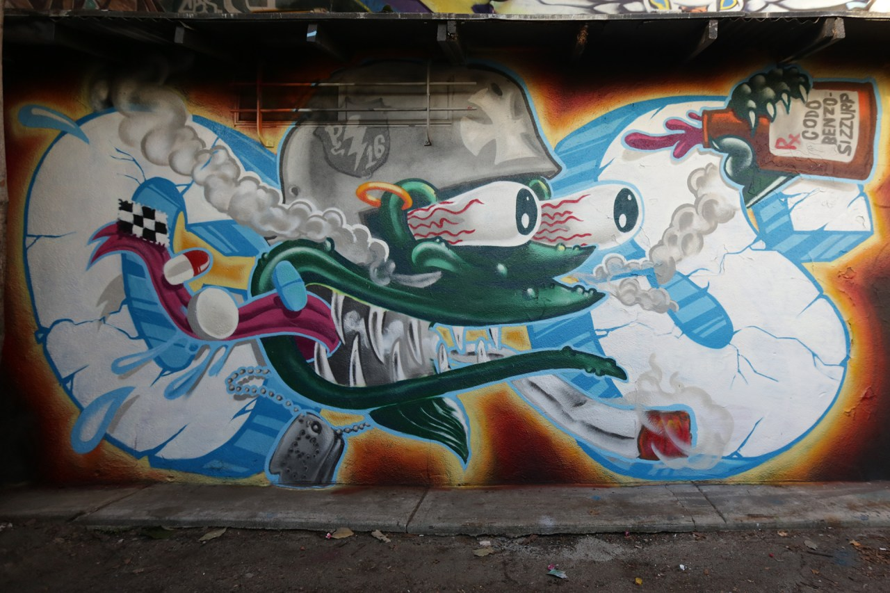 self selfuno graffiti cbs crew melrose alley powerplant motorcycles hollywood wall piece los angeles january 2013
