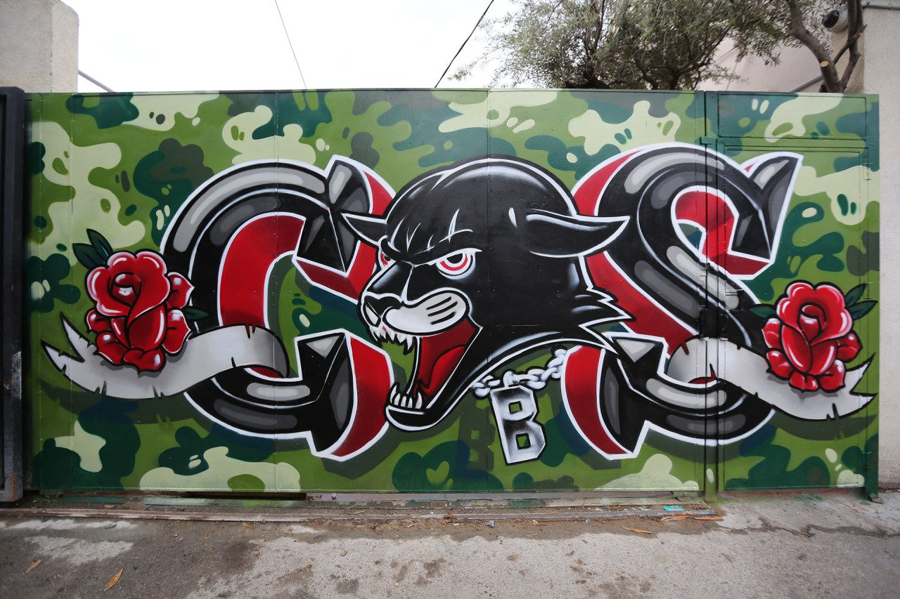 self selfuno graffiti cbs letters camo panther roses hollywood melrose alley los angeles march 2013