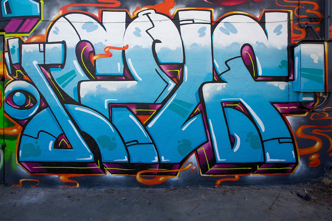 self selfuno graffiti melrose alley hollywood los angeles cbs crew wall piece letters connections march 2015