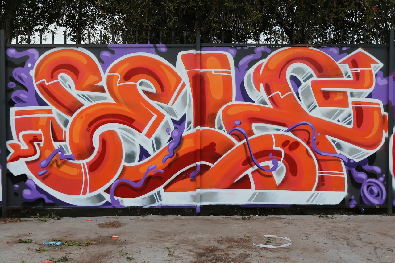 self selfuno graffiti piece burner letters south central los angeles feb 2014