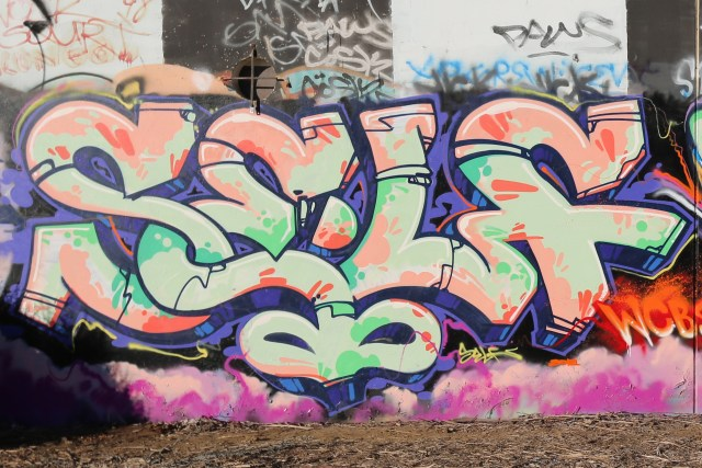 self selfuno graffiti piece letters burner letters los angeles trackside yard dtla october 2012