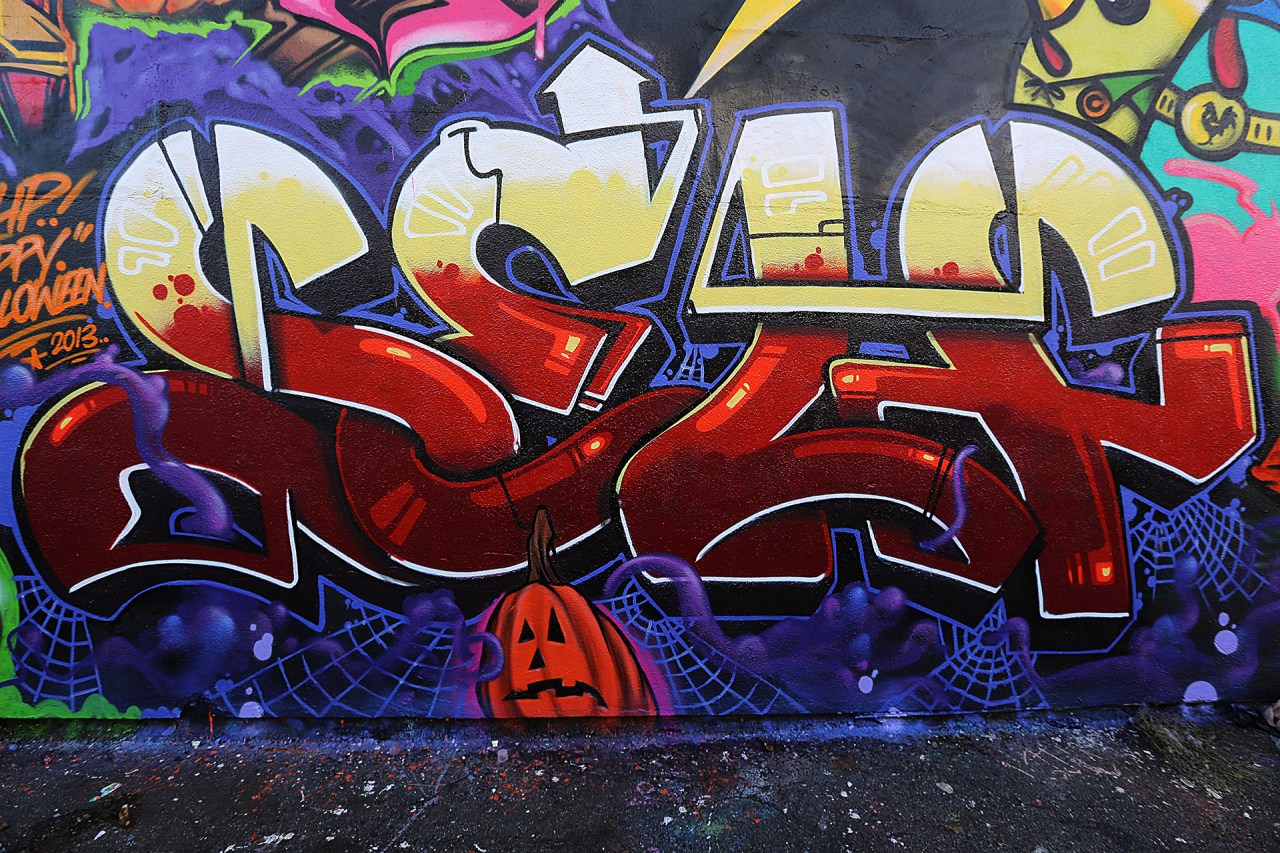 self selfuno graffiti piece letters wall piece halloween production pomona california los angeles october 2013