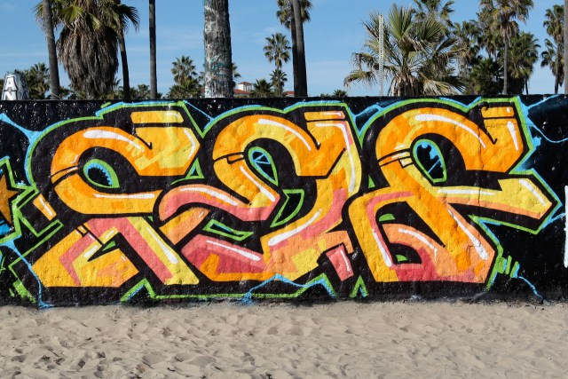 self selfuno graffiti venice beach wall piece los angeles january 2012