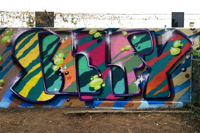 selfy selfuno cbs crew graffiti wall hollywood los angeles letters piece december 2014