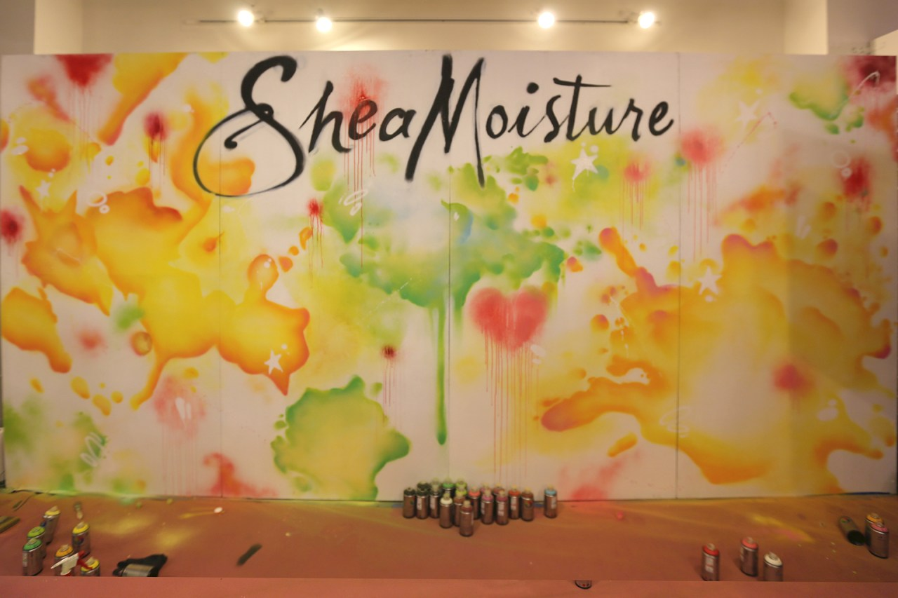 shea moisture live painting beautycon 2015 watercolor style background commission aerosol art