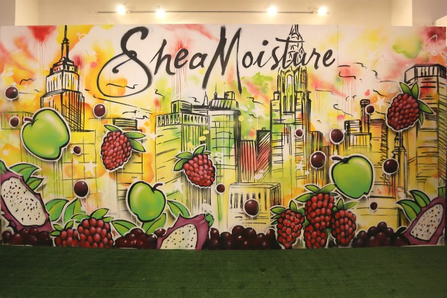 shea moisture live painting beautycon 2015 watercolor style skyline background fruit commission finished product aerosol art