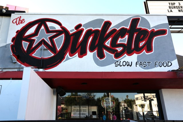 selfuno oinkster sign restaurant hollywood los angeles california commission aerosol spraypaint lettering logo october 2015