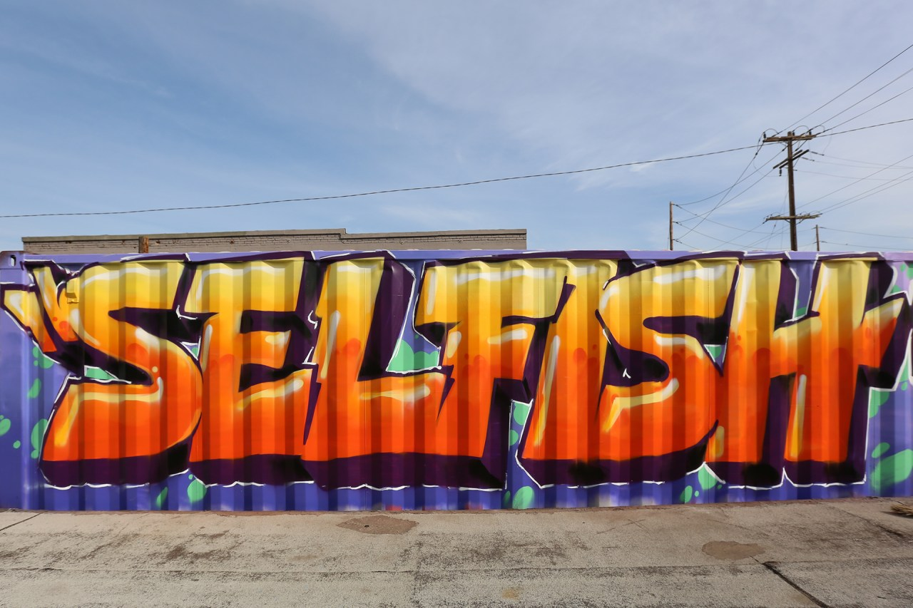self selfish selfuno graffiti dtla los angeles shipping container fatcap spraypaint march 2016